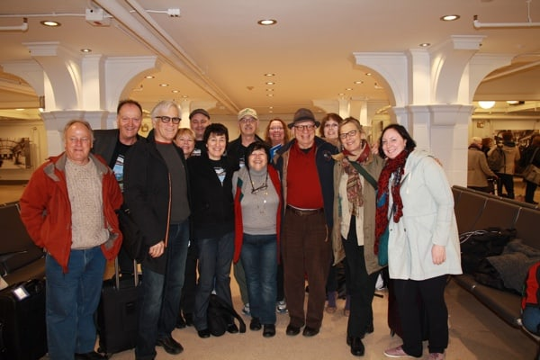 The Great Canadian PoeTrain group at Winnipeg's Union Station. Photo copyright Laura Byrne Paquet.