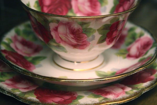 teacup with pink flowers