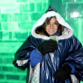 Yes, cold makes me grin like Jack Nicholson in Batman. This is at the Icebar at the Nordic C hotel in Stockholm. Photo by Paul Paquet.