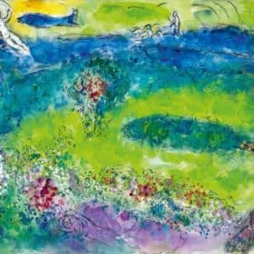 Marc Chagall (1887-1985), Backdrop design for Daphnis and Chloe (Act II), 1958, gouache, graphite, coloured pencil and tempera on paper, 56 x 79.5 cm. Private collection. © SODRAC & ADAGP 2017, Chagall ®. © Archives Marc et Ida Chagall, Paris