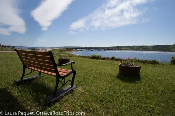 Cape Breton scenic bench water