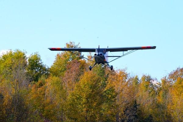 small plane landing Rideau Lakes Flying Club Westport Ontario