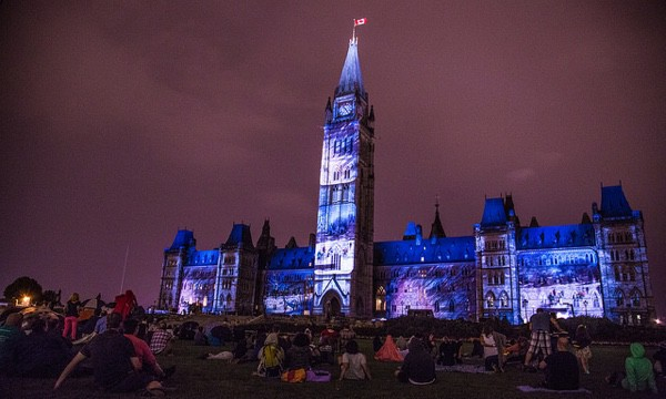 Mosaika sound and light show on Parliament Hill in Ottawa.