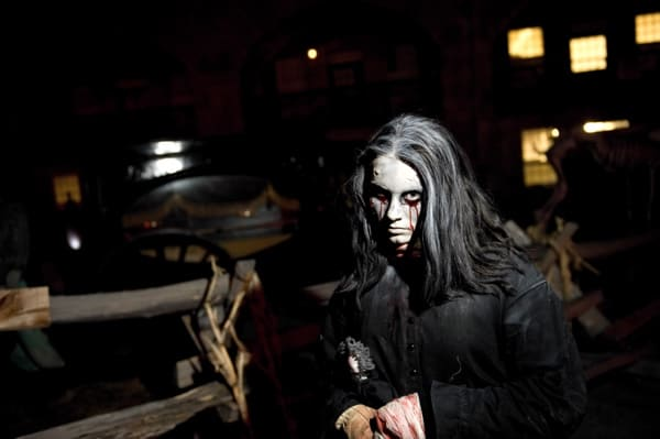 Girl dressed as zombie at Fort Fright at Fort Henry in Kingston, Ontario.