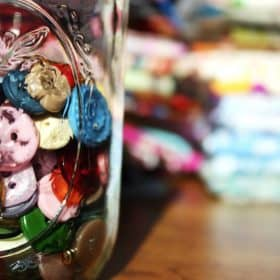 vintage buttons in a jar