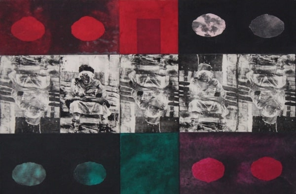 Multimedia art in red, green, white and black. La Porte Rouge by Genevieve Belzile.