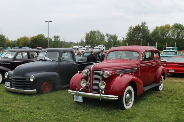 Classic cars at Summer's End Car Show and Swap meet in Renfrew.