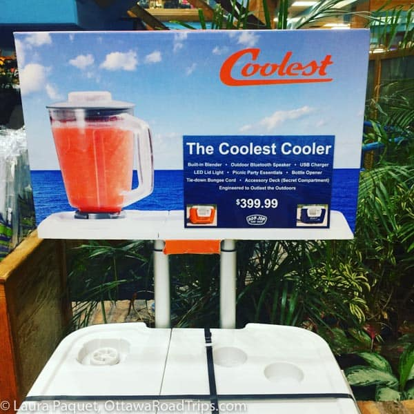 Sign for cooler with built-in blender.