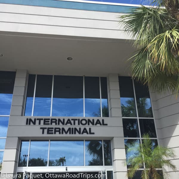 Facade of international terminal at Orlando Melbourne International Airport.