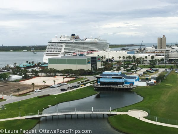 Port Canaveral with large cruise ship in port.