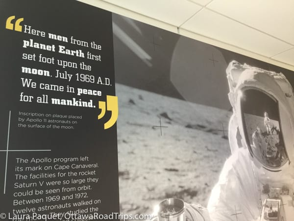 Display with photo of first man on the moon.