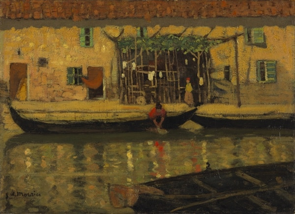 Morrice painting of a canal in Venice, in tones of red and gold, showing woman in a boat on the canal in front of a house with a tiled roof.