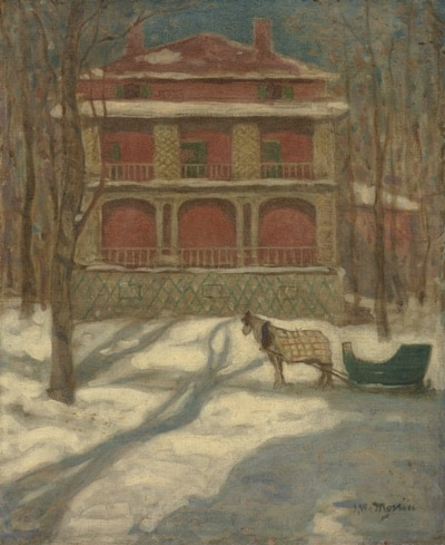 Horse and sleigh in winter, in front of pink house on Redpath Street in Montreal, early 1900s, painted by J.W. Morrice.