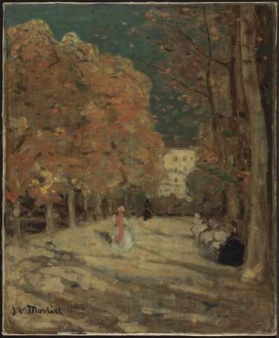 Woman in long white dress strolling under fall trees in Luxembourg Gardens in Paris, painted by J.W. Morrice.