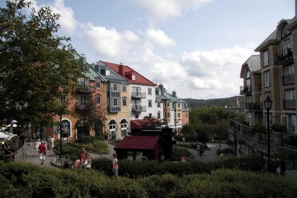 Multicoloured buildings in Tremblant resort in Quebec.