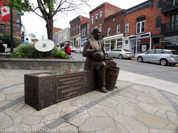 A statue of basketball inventor James Naismith, who grew up in Lanark County, holds pride of place in downtown Almonte.