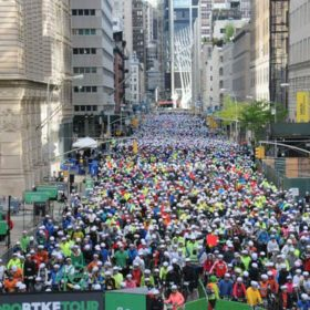 Hundreds of riders wait to start the Five Boro Bike Tour in New York City in 2017.