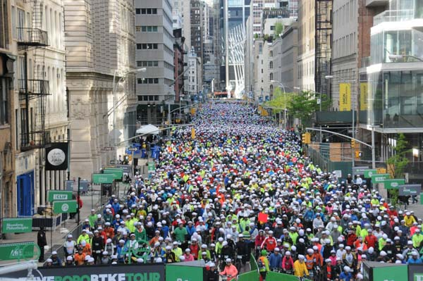 Hundreds Of Riders Wait To Start The Five Boro Bike Tour In New York City In