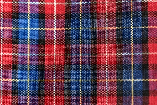 Red, white and blue tartan (or plaid).