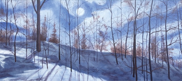 Painting of trees in winter.