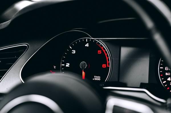 Closeup of an Audi dashboard.