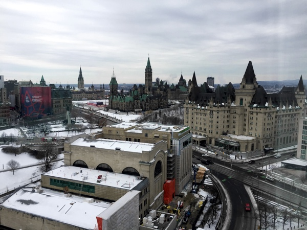 View of Parliament Hill and downtown Ottawa from the Westin Ottawa hotel.